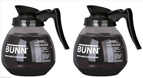 BUNN Glass Coffee Pot DecanterCarafe Regular 12 cup Capacity Black Set of 2