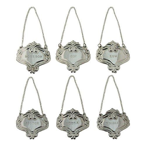 Silver Engraved Fancy Floral Decanter Labels Liquor Bottle Label Tag Set6 Tags