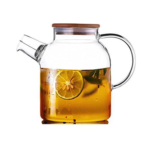 CENSUN 16L 56oz Glass Teapot with Bamboo Lid Juice Iced Tea HotCold Water Carafe Hand Made Water Jug Flower Loose Tea Coffee Pot