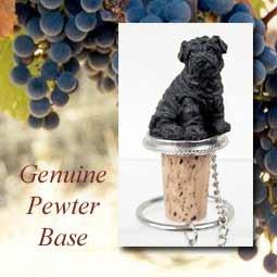 Chinese Shar Pei Black Wine Bottle Stopper - DTB40B