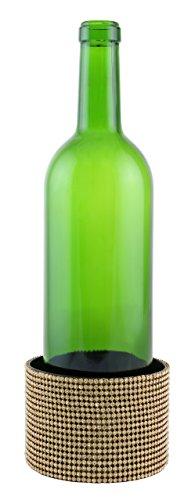 WINE BODIES YC3100 Elegant Surface Protector Metal Decorated Wine Bottle Coaster Amber