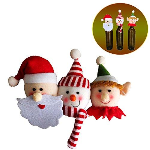 Christmas Wine Bottle Caps Set 3 PCS Home Table Decorations