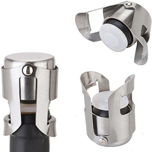 Transer Stainless Steel Vacuum Sealed Sparkling Champagne Wine Bottle Saver Stopper Caps Silver