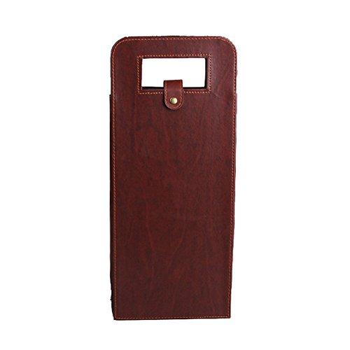 Hangnuo Luxury Two Bottle Wine Gift Bag Wine Carrier Bag Brown