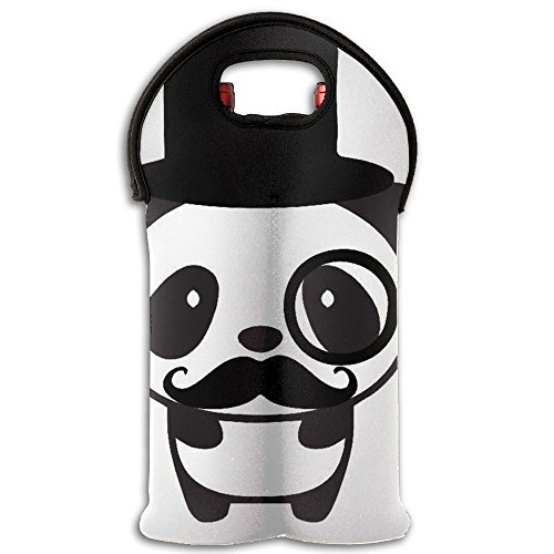 Merry Mustache Neoprene Wine Carrier Tote Bag Great For Stylish Easily Stored Wine Bag Purse BBQs Hostess Gift And Family Gatherings 2 Bottle