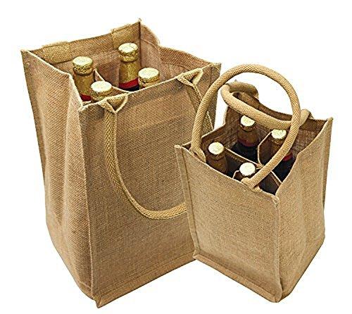 Jute Burlap 4 Bottle Wine Carrier Reusable Jute Wine Tote Bags w Dividers 1