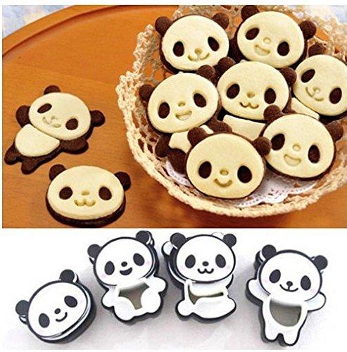 Lentenda 4x Panda Sandwich Cookies Cutter Mold Biscuit Bread Cake Pastry Mould (panda)