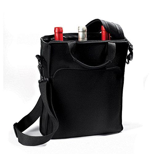 DR 3-Bottle Pockets Neoprene Black Wine Carrier Tote Bag w Included Chiller Pack