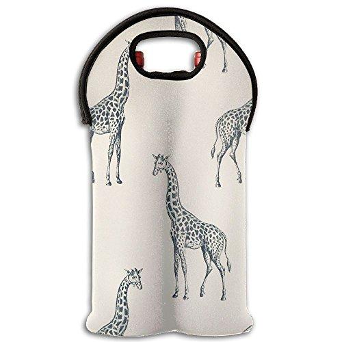 Cool Giraffe Insulated Neoprene Wine Tote Bag Wine Bottle Holder Keeps Bottles Protected– Perfect For Picnics Beach Airplane Travel(2 Bottle)