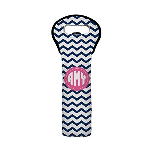 Monogram Wine Bottle Tote Bag Personalized Navy Blue Chevron Neoprene Wine Carrier Wine Cover Wine Tote Bag Insulated Wedding Favor Wine Tote Bag Gift for Christmas Wine Tote Single