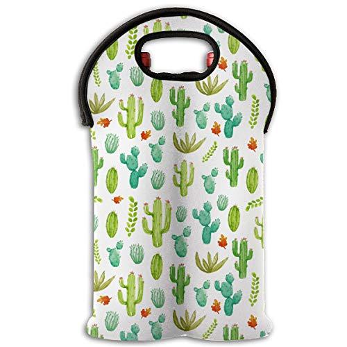 HEHE TAN Watercolor Various Cactus Wine Tote Carrier Bag Bottle Wine Tote BagBeerCansChampagneWater Or Drink Bottle Bag2-Bottle