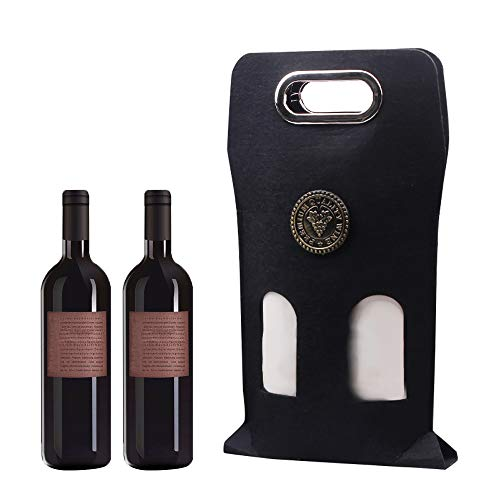 Wine Carrier Bag Rollable Felt Gift Bag - No Buckle Carrying Ring Wine Bottle Carrier BagBest Wine Gifts for Women and Men Picnic and Travel ToteBlack
