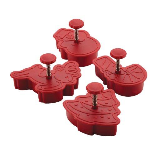 Cake Boss Decorating Tools 4-piece Christmas Fondant Press Set, Red