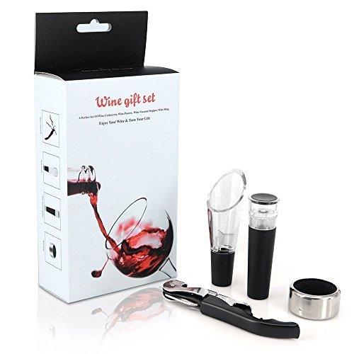 Mayshion 4 in 1 Stainless Steel Wine Tool Gift Set Bottle Opener Corkscrew Stopper Pourer