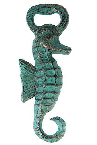 Cast Iron Seahorse Bottle Opener Verdigris Green with Bronze Patina