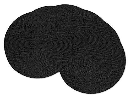 DII Round BraidedWoven IndoorOutdoor PlacematCharger Set of 6 Black