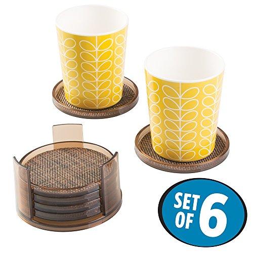 mDesign Round Drink Coasters Set of 6 - BronzeSand
