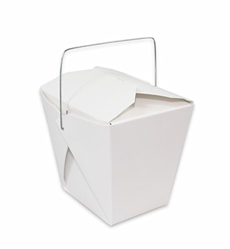 Chinese Take Out Food Boxes White with Metal Wire Handle Set of 40 Containers 32 oz 1 Quart