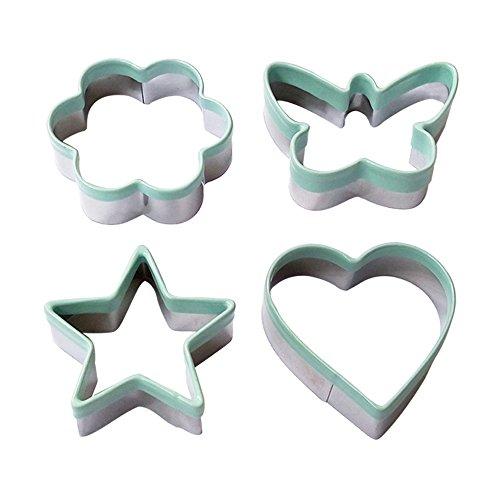 Ecoart Cookie Cutter Set - Star Flower Heart Butterfly Shapes Biscuit Cutter - Stainless Steel Sandwich Cutter  Vegetable Cutter for Kids Adults Set of 4