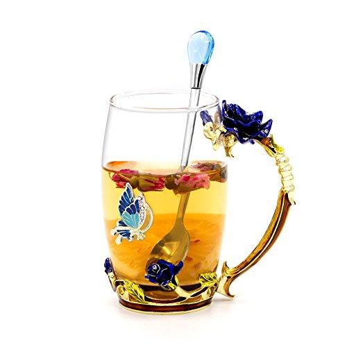 Daycindy Handmade Enamel Cup Flower Crystal Glass Cups Coffee Tea Water Mug 13oz Rose Blue