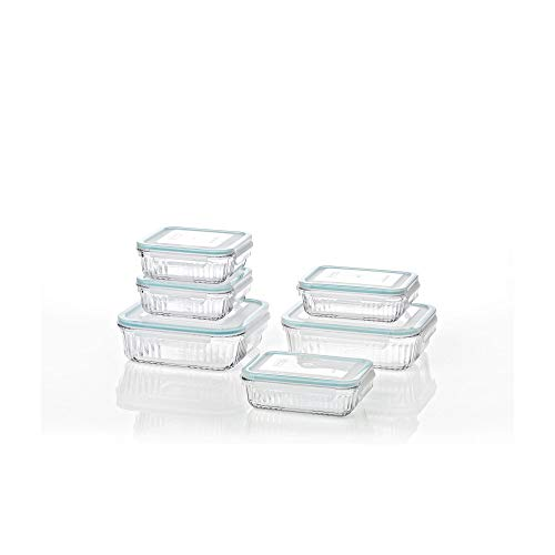 Glasslock Retro Oven and Microwave Safe Glass Food Storage Container 12 Pieces