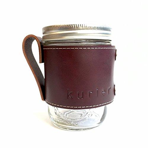 Kurier WINE red removable full grain Leather Camp Mug  glass mason ball canning jar mug travel coffee cup with handle handmade in USA 16 oz glass jar included