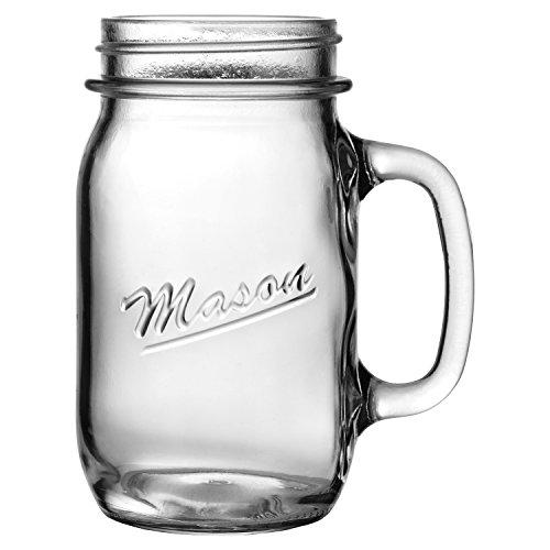 Anchor Hocking Mason Embossed Glass 16 Ounce Canning Jar Mug Set of 6