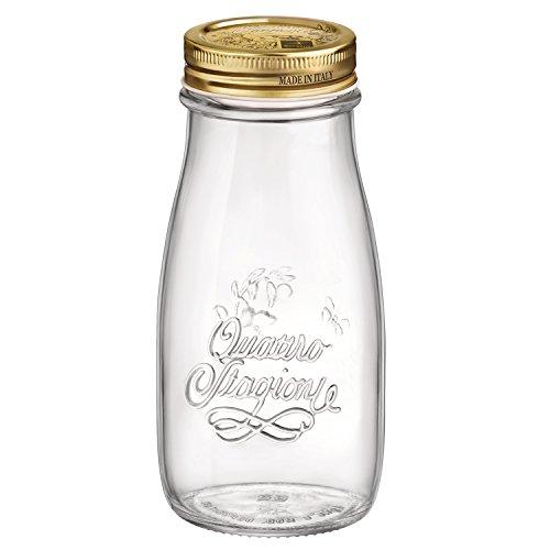 Bormioli Rocco Quattro Stagioni Glass Bottle - Food Storage and Glass Canning Jar - 135 oz Set of 12