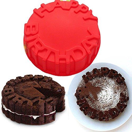 Vancgoods 7 inch Word Happy Birthday Cake Baking Molds Cake Pan Flexible Silicone Cake Making Mold DIY Cake Dessert Bake ware Molds