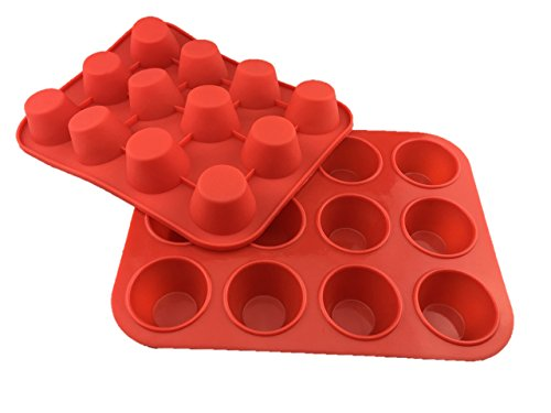 Chefs Entrée Silicone Small Mini Muffin Cupcake Pans - 2 Pack x 12 Muffin Cups Red Cupcake Non-stick Baking Tray - 100 Premium Silicone BPA Free - Dishwasher Safe Heat Resistant