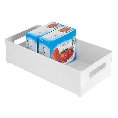 mDesign Refrigerator Freezer Pantry Cabinet Organizer Bins for Kitchen - 8 x 4 x 145 White
