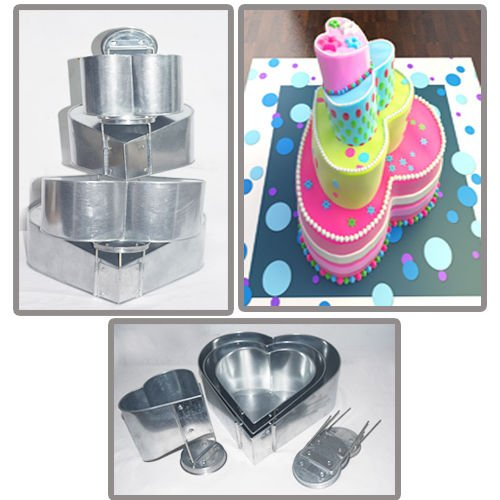 Euro Tins multi layer cake pans Topsy Turvy Heart 4 tier wedding cake pan - cake tin set with detachable stand