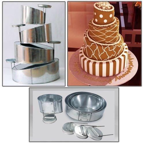 Euro Tins multi layer cake pans Topsy Turvy Round 4 tier wedding cake pan - cake tin set with detachable stand