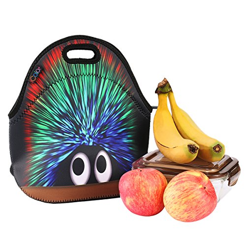 iColor Hedgehog Boys Girls Kids Neoprene Sleeve School Office Travel Outdoor Warm Thermal Waterproof Lunch Bag Tote Box Container Tote Pouch Food Carrying Insulated Holder W Handle Case