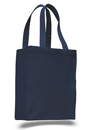 12 Pack Set of 12- Extra Heavy Duty Canvas Tote Bag with Gusset Navy
