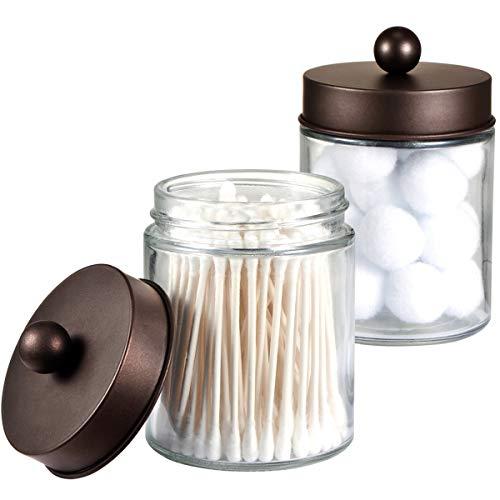 Apothecary Jars Bathroom Storage Organizer - Cute Qtip Dispenser Holder Vanity Canister Jar Glass with Lid for Cotton SwabsRoundsBath SaltsMakeup SpongesHair AccessoriesBronze 2 Pack