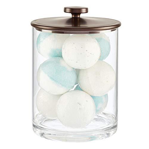 mDesign Modern Round Bathroom Vanity Countertop Storage Organizer Canister Jar for Cotton Swabs Rounds Balls Makeup Sponges Bath Salts - ClearBronze
