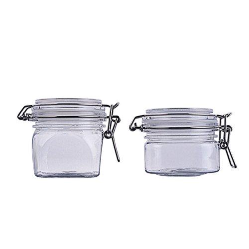 TOPWEL 180g6oz220g square Clear PET Plastic Latch Lid Cosmetic Storage Hermetic Jars Set