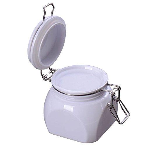 TOPWEL 220g Square White PET Plastic Latch Lid Cosmetic Storage Hermetic Jars 1