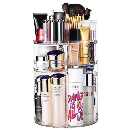 Jerrybox 360 Degree Rotation Makeup Organizer Adjustable Multi-Function Cosmetic Storage Box Large Capacity Fits Toner Creams Makeup Brushes Lipsticks and More