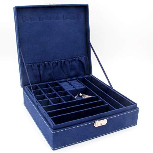 KLOUD City Two-Layer lint Jewelry Box Organizer Display Storage case with Lock Deep Blue