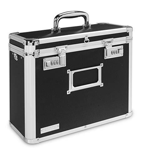 Vaultz Locking Personal File Organizer Tote Box Letter Size Black with Chrome VZ00640