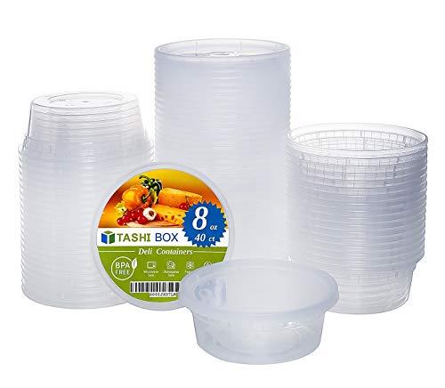 TashiBox 8 oz food storage deli containers with lids - 40 sets