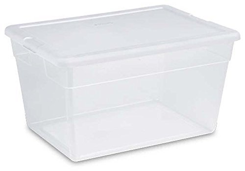 STERILITE 56 Quart Clear Storage Box See-through with White Lid Pack Of 8