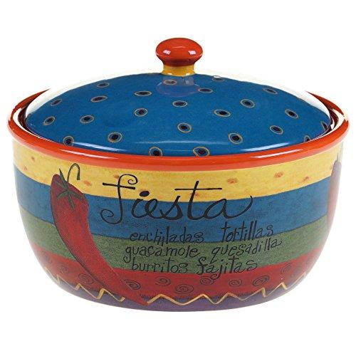Certified International 57438 Salsa Bakeware Bean Pot 2 quart Multicolor