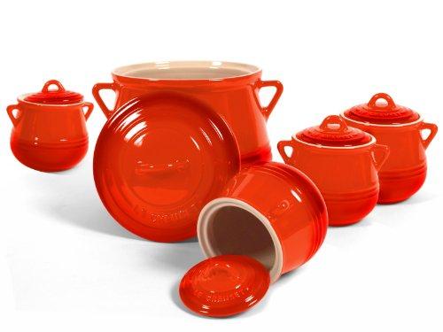 Le Creuset Heritage Flame Stoneware 5 Piece Bean Pot Set