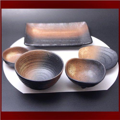 Setomono honpo Black bizen 5pcs set rice bowl Chiyo Maru three-legged bean pot triangular 35 plates and ceramic plates ceramic