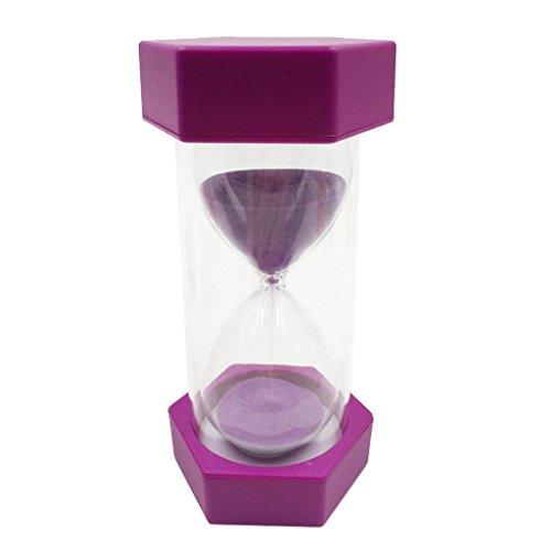 MonkeyJack Plastic Sand Clock Hourglass Sandglass Tea Coffee Timer 30 Minutes Purple Frame Sand Hourglass for Children Playing Games Exercising