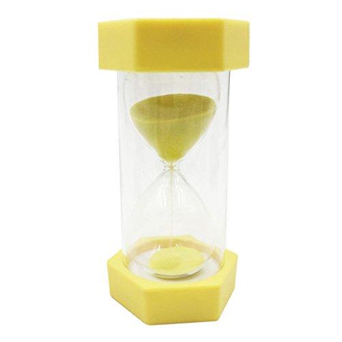 MonkeyJack Plastic Sand Clock Hourglass Sandglass Tea Coffee Timer 30 Minutes Yellow Frame Sand Hourglass for Children Playing Games Exercising