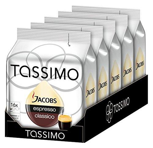 Tassimo Jacobs Espresso Classico Coffee 16 Count T-discs X 5 Pieces